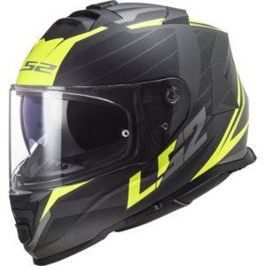 ls2 ff800 storm nerve hi viz black helmet side view