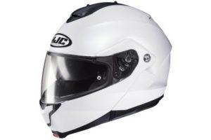 HJC C91 white pearl modular motorcycle helmet side view