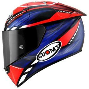 Suomy sr-gp-onboard-red-blue motorcycle racing helmet side view