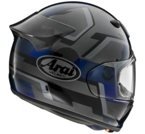 arai quantic face blue motorcycle helmet rear view