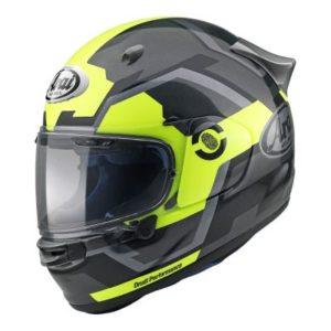 arai quantic face helmet in fluo yellow side view
