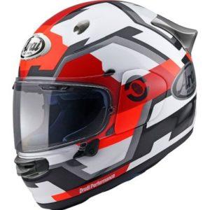 arai quantic face helmet in red rear view