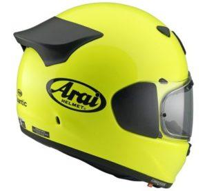 arai quantic fluor yellow motorbike helmet side view