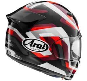 arai quantic snake touring helmet in red side view