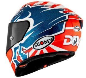 suomy SR-GP Dovi replica motorcycle helmet rear side view