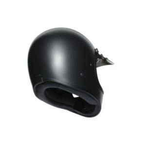 AGV X101 mono matt black retro motorcycle helmet rear