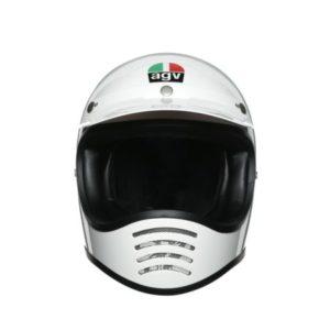 AGV X101 mono white retro motocross helmet front view